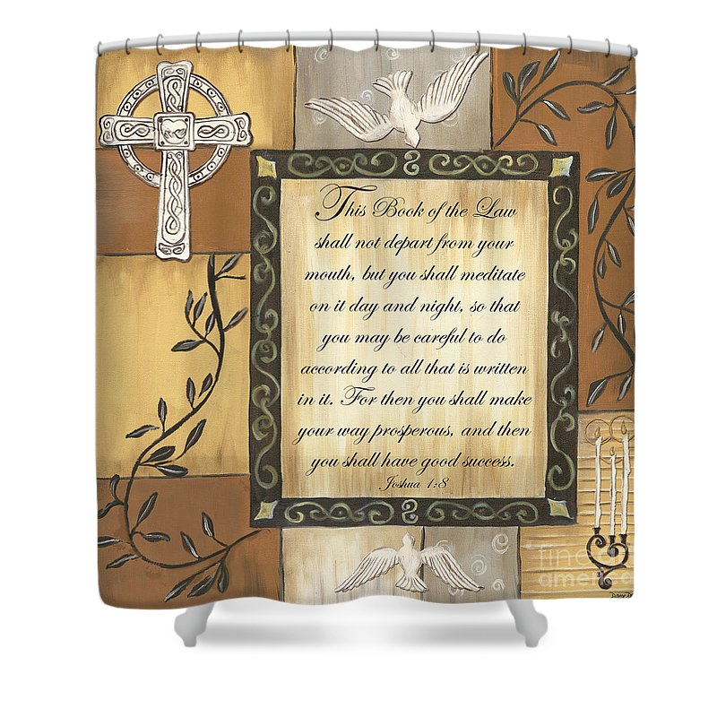 Scripture Shower Curtain featuring the painting Caramel Scripture by Debbie DeWitt