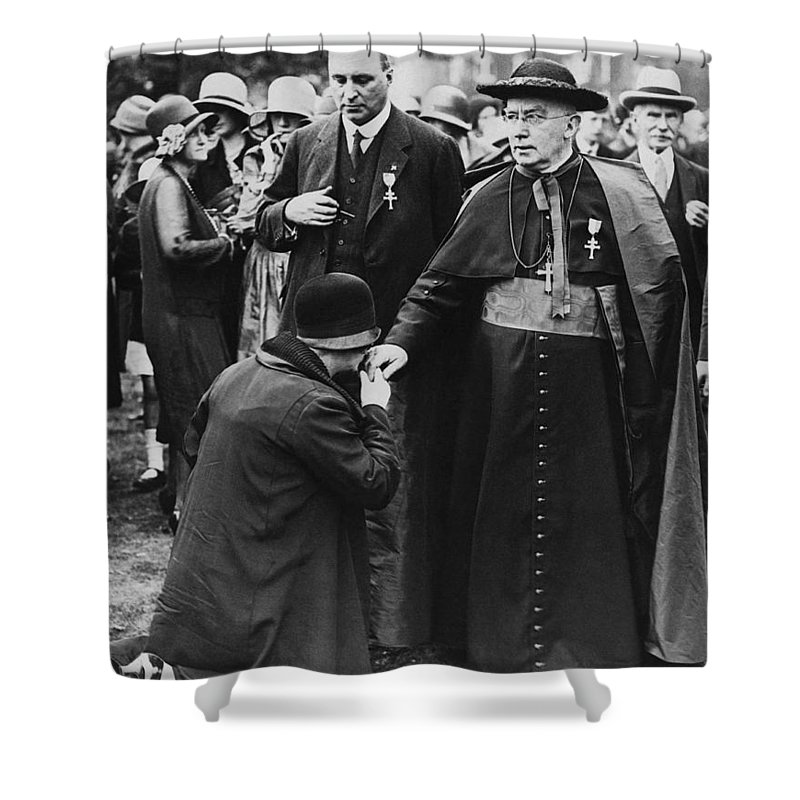 1930s Shower Curtain featuring the photograph Cardinal Bourne's Hand Kissed by Underwood Archives