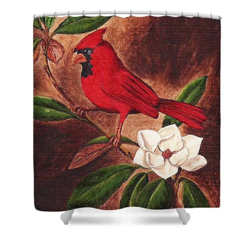 Birds Shower Curtain featuring the painting Cardinal II by Brandy House