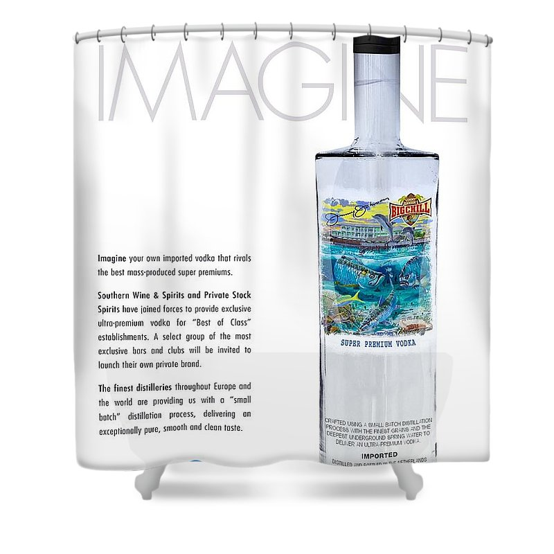 Vodka Shower Curtain featuring the glass art Carey Chen Big Chill Vodka By Jimmy Johnson by Carey Chen