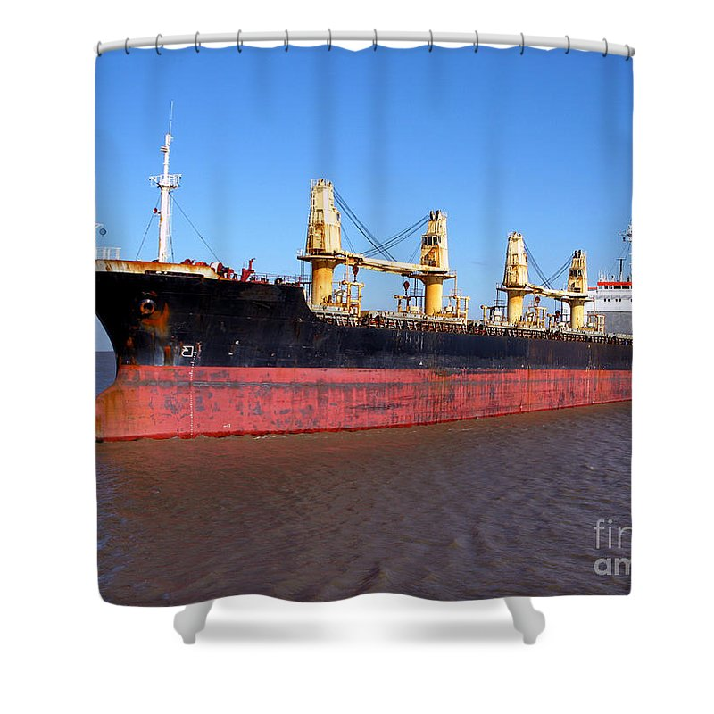 Cargo Ship Shower Curtain for Sale by Olivier Le Queinec