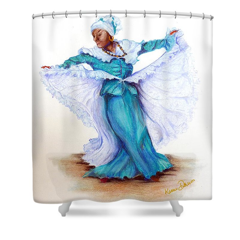 Caribbean Shower Curtain Featuring The Pastel Folk Dancer By Karin Dawn Kelshall Best