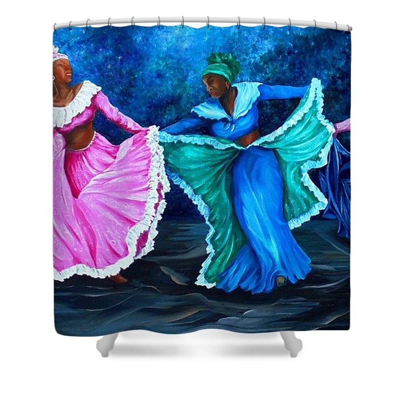 Caribbean Dance Shower Curtain featuring the painting Caribbean Folk Dancers by Karin Dawn Kelshall- Best