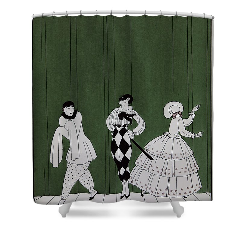 Ballet Shower Curtain featuring the painting Carnaval by Georges Barbier