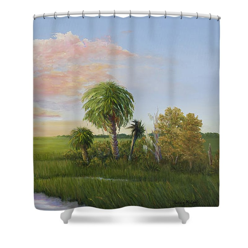 Coastal Sunset Shower Curtain featuring the painting Carolina Classic by Audrey McLeod