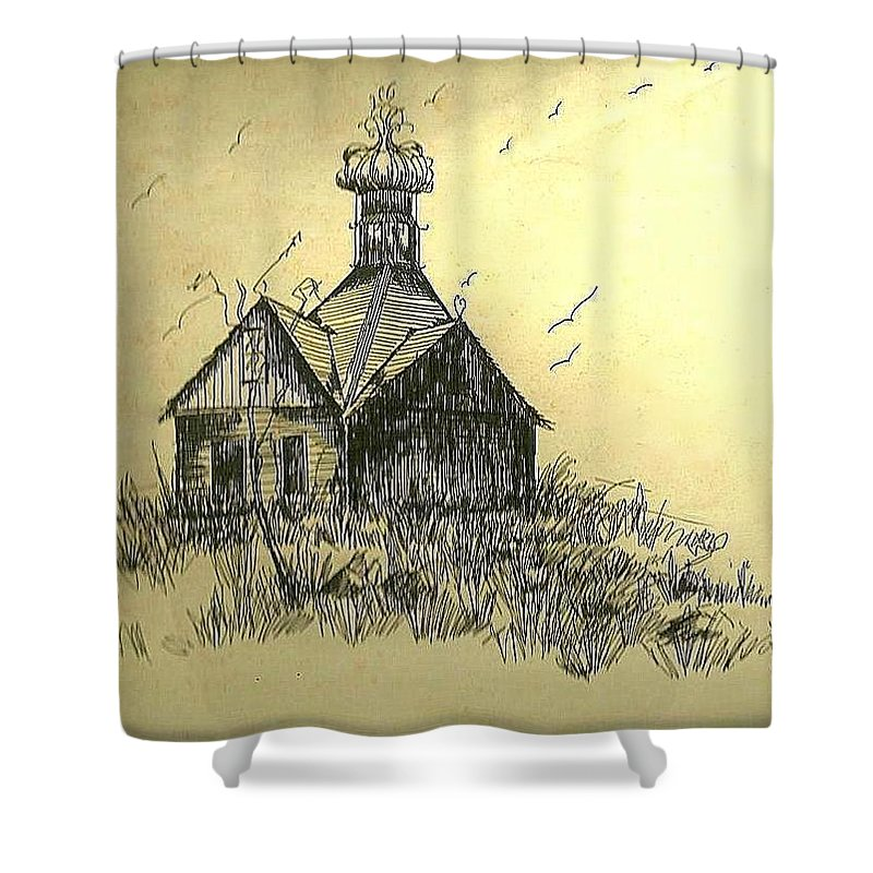 North Carolina Shower Curtain featuring the painting Carolina Farm House by Michael Hoard