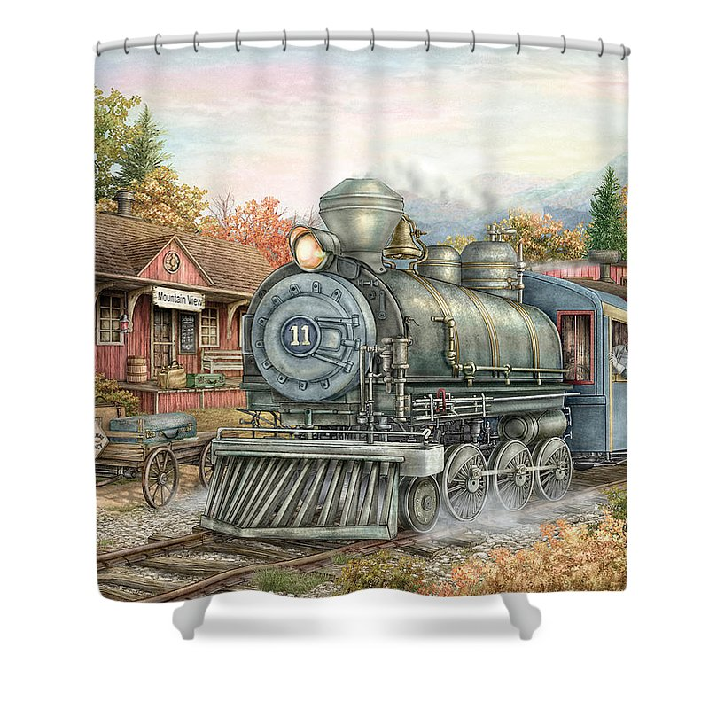 Train Shower Curtain featuring the painting Carolina Morning Train by Beverly Levi-Parker