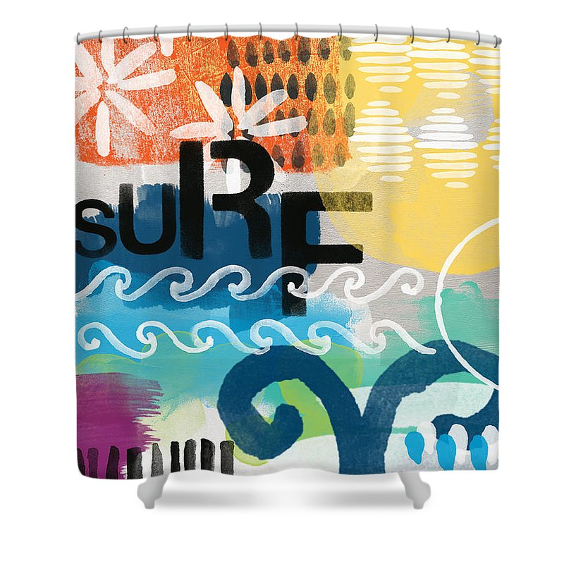 Surf Shower Curtain featuring the painting Carousel #7 SURF - contemporary abstract art by Linda Woods