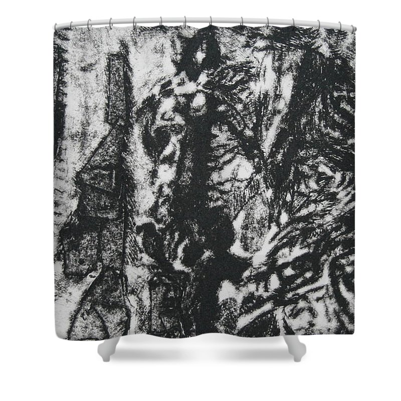 Carousel Shower Curtain featuring the drawing Carousel by Lyndsey Hatchwell