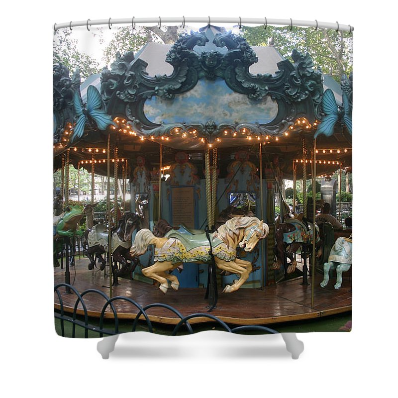 Carousel Shower Curtain featuring the photograph Carousel by Rick De Wolfe