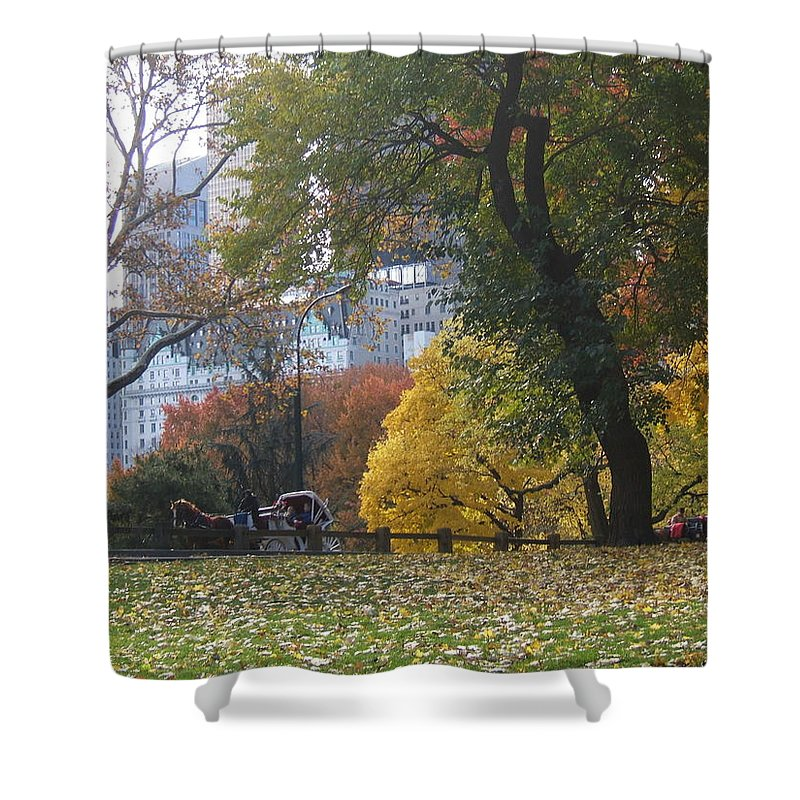 central Park Shower Curtain featuring the photograph Carriage Ride Central Park In Autumn by Barbara McDevitt