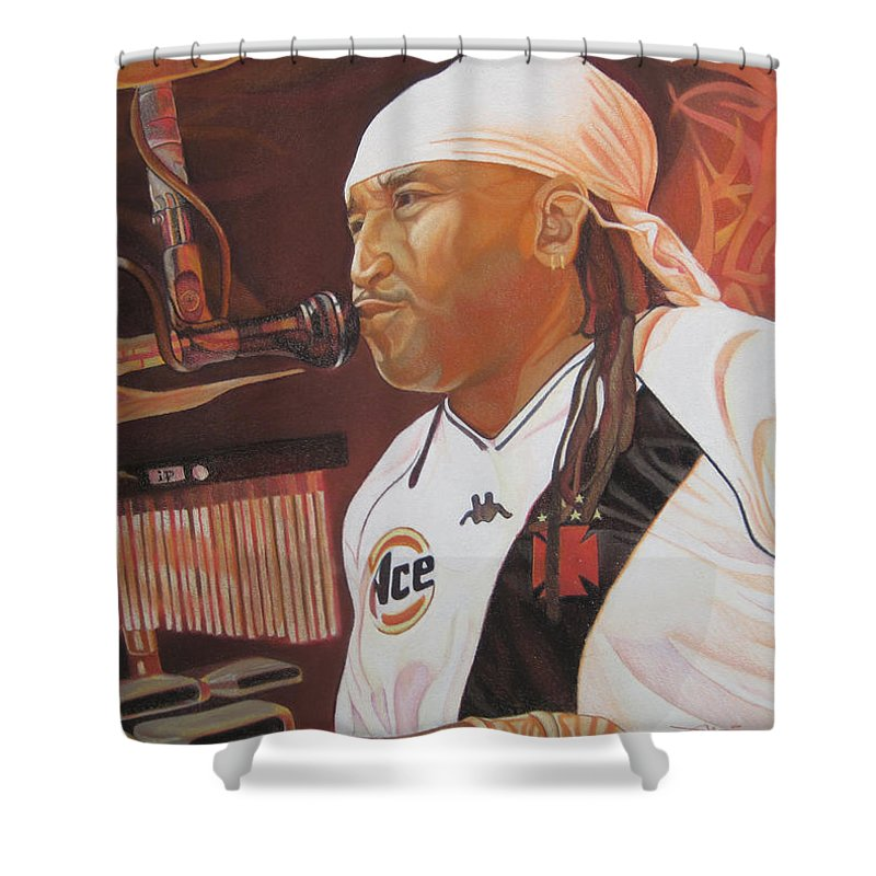 Carter Beauford Shower Curtain featuring the drawing Carter Beauford At Red Rocks by Joshua Morton