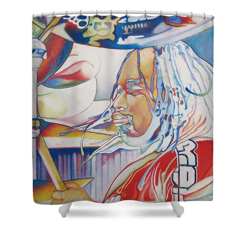 Carter Beauford Shower Curtain featuring the drawing Carter Beauford Colorful Full Band Series by Joshua Morton