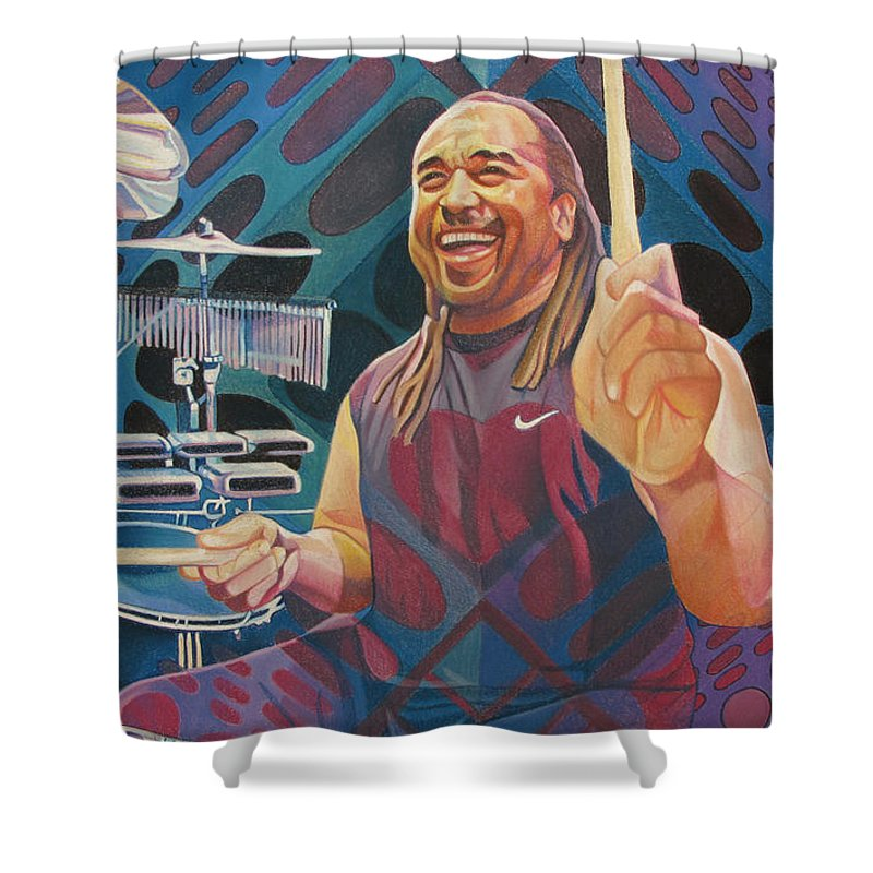 Carter Beauford Shower Curtain featuring the drawing Carter Beauford Pop-op Series by Joshua Morton