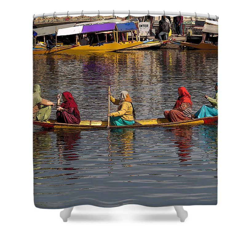 Beautiful Scene Shower Curtain featuring the digital art Cartoon - Ladies On A Wooden Boat On The Dal Lake With The Background Of Hoseboats by Ashish Agarwal