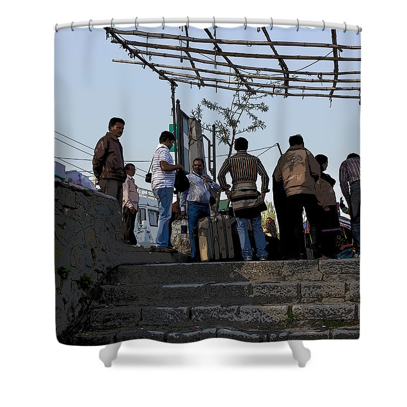 Bag Shower Curtain featuring the digital art Cartoon - Locals And Tourists Standing At The Top Of The Steps Near The Dal Lake by Ashish Agarwal