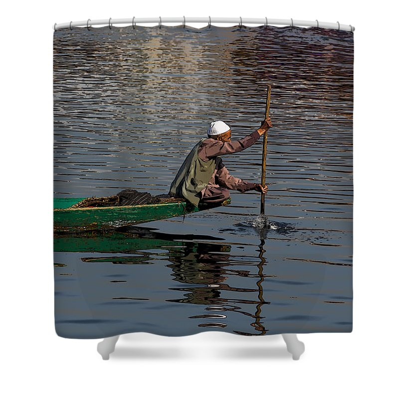 Beautiful Scene Shower Curtain featuring the digital art Cartoon - Man Plying A Wooden Boat On The Dal Lake by Ashish Agarwal