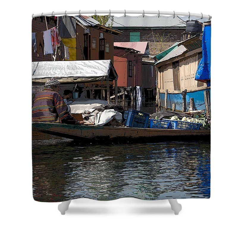 Canon Shower Curtain featuring the digital art Cartoon - Man Rowing Small Boat Laden With Vegetables In The Dal Lake In Srinagar by Ashish Agarwal