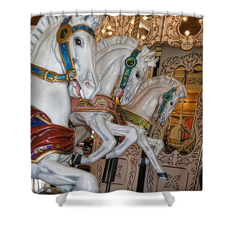 Carousel Shower Curtain featuring the photograph Caruosel Horses by Paul DeRocker
