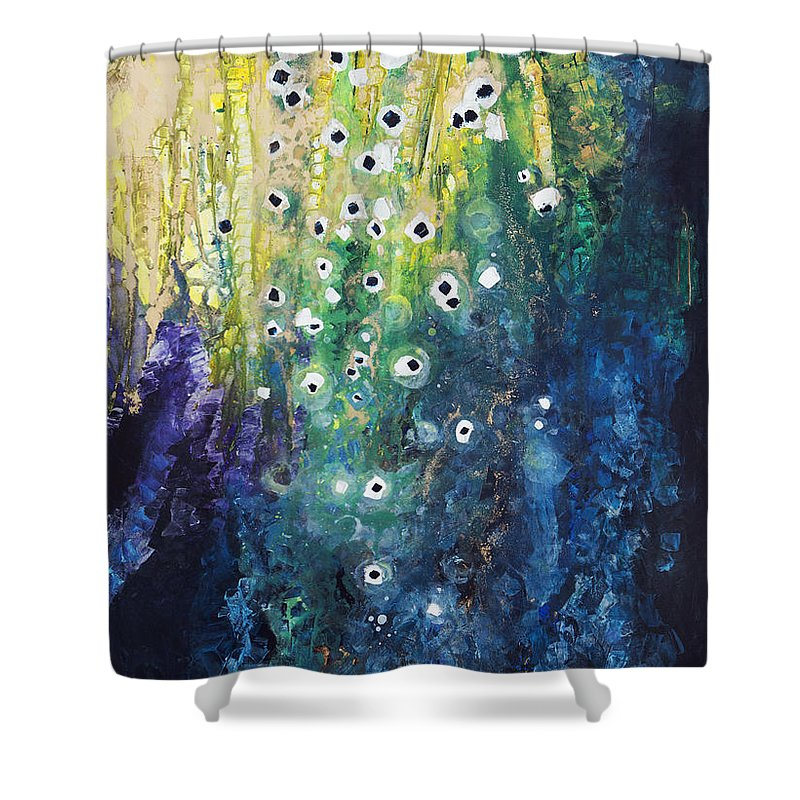 Abstract Shower Curtain featuring the painting Cascading Colors by Tara Thelen