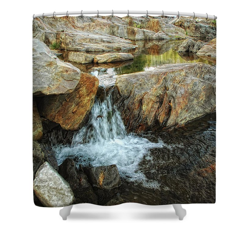 Yuba River Shower Curtain featuring the photograph Cascading Downward by Donna Blackhall