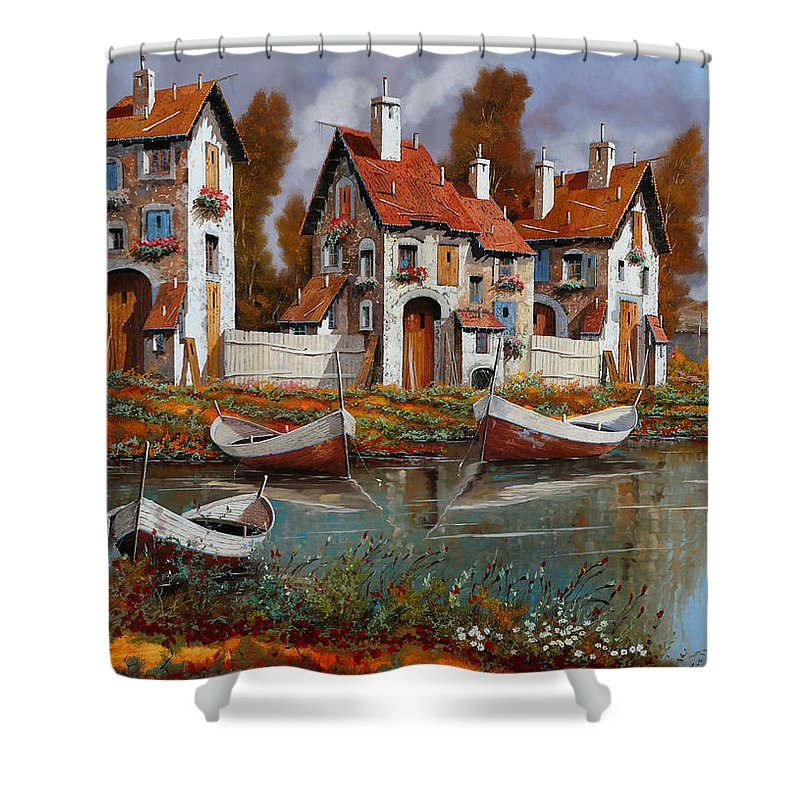 Village Shower Curtain featuring the painting Case A Cerchio by Guido Borelli
