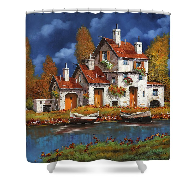 White House Shower Curtain featuring the painting Case Bianche Sul Fiume by Guido Borelli