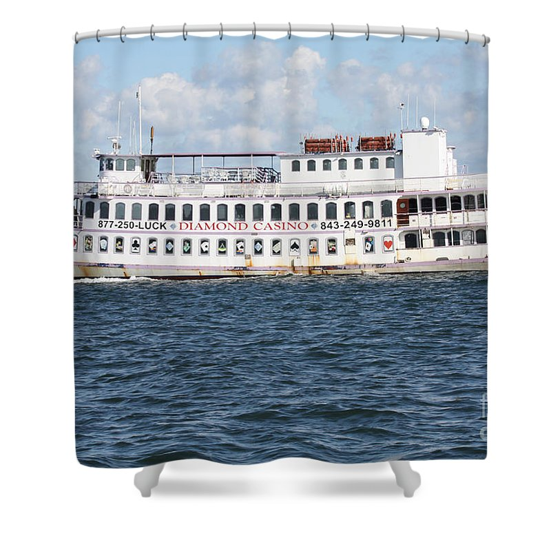 Casino Boat Coming Into Port Shower Curtain featuring the photograph Casino Boat Coming Into Port by John Telfer