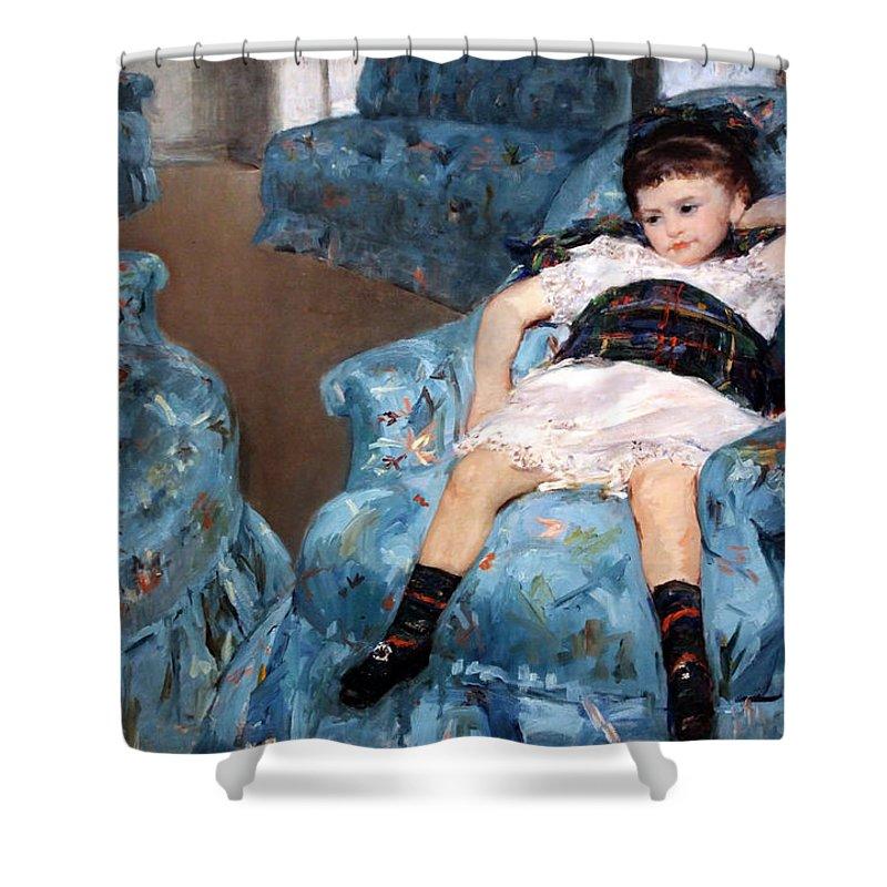 Little Shower Curtain featuring the photograph Cassatt's Little Girl In A Blue Armchair by Cora Wandel