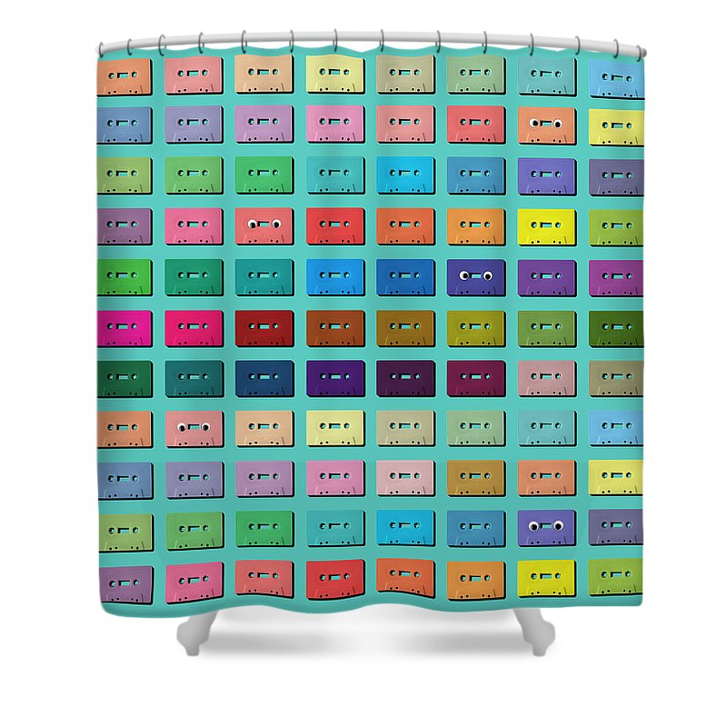 Music Shower Curtain featuring the photograph Cassette Tape Grid On Blue Background by Juj Winn