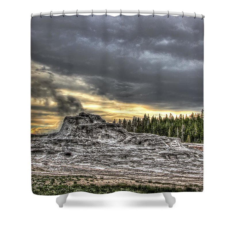 Geysers Shower Curtain featuring the photograph Castle Geyser - Yellowstone by Daniel Hagerman