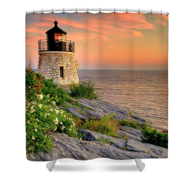 Lighthouse Shower Curtain featuring the photograph Castle Hill Lighthouse - Rhode Island by Expressive Landscapes Fine Art Photography by Thom