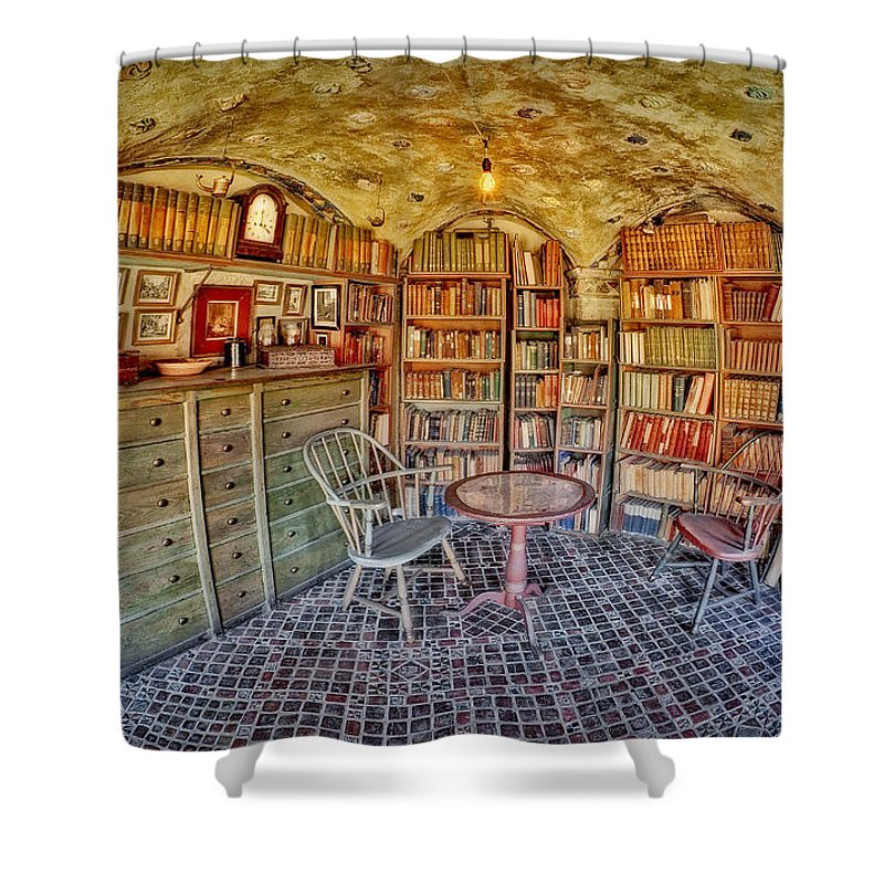Byzantine Shower Curtain featuring the photograph Castle Map Room by Susan Candelario