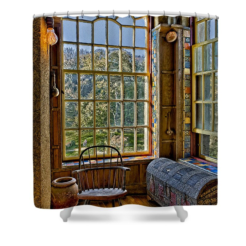 Byzantine Shower Curtain featuring the photograph Castle Office by Susan Candelario