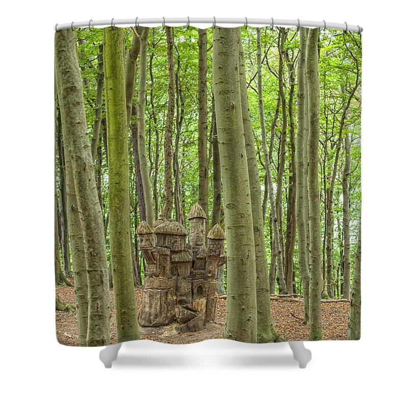 Sculpture Shower Curtain featuring the photograph Castle Tree Stump by Antony McAulay