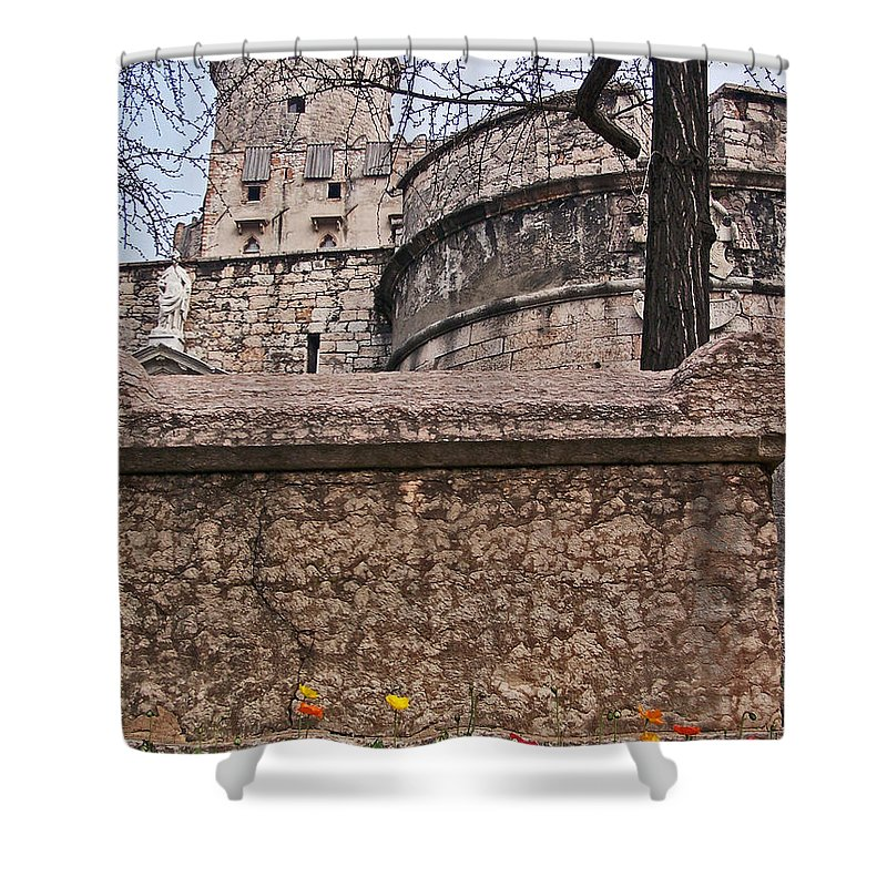Castles Shower Curtain featuring the photograph Castle With Poppies by Jennifer Robin