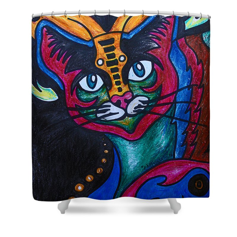 Cat Shower Curtain featuring the drawing Cat 2 by Carol Tsiatsios