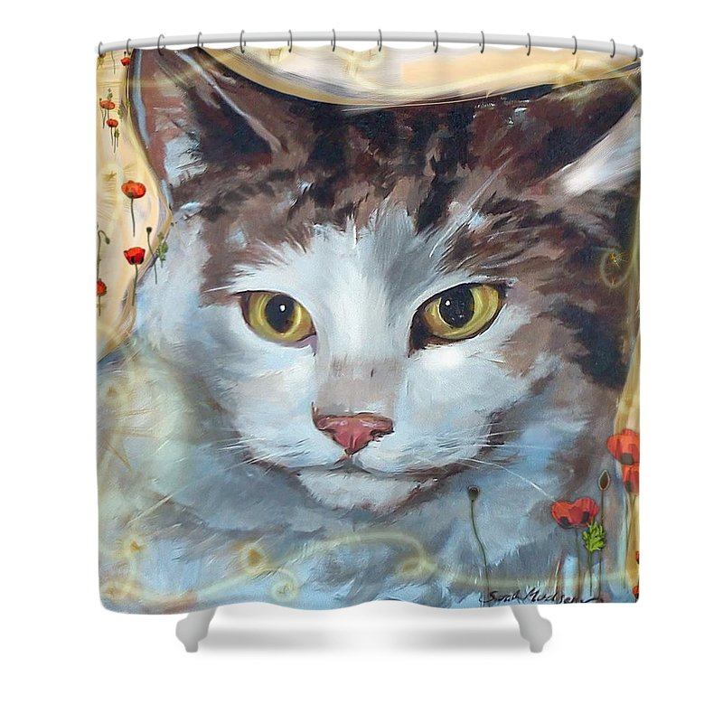 Cat Shower Curtain featuring the mixed media Cat and Poppies by Sarah Madsen