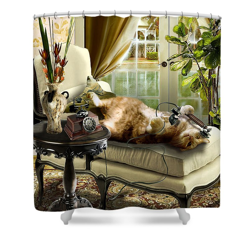 Pet Cat Painting Shower Curtain featuring the painting Funny pet talking on the phone by Regina Femrite