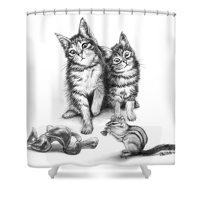 Cat Chips Shower Curtain featuring the drawing Cat Chips by Peter Piatt