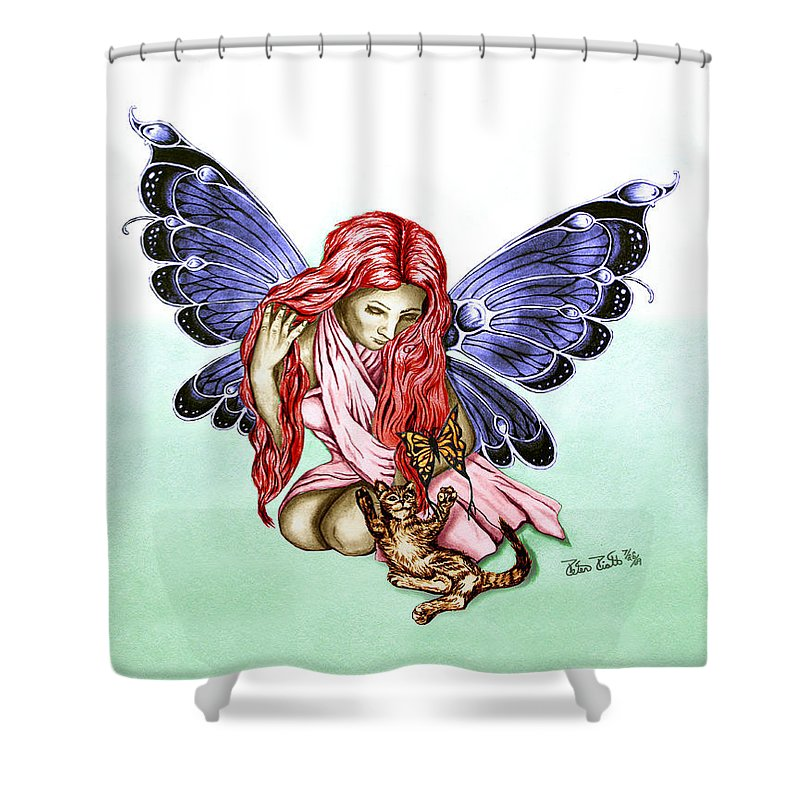 Cat Fairy Shower Curtain featuring the drawing Cat Fairy In Blue by Peter Piatt