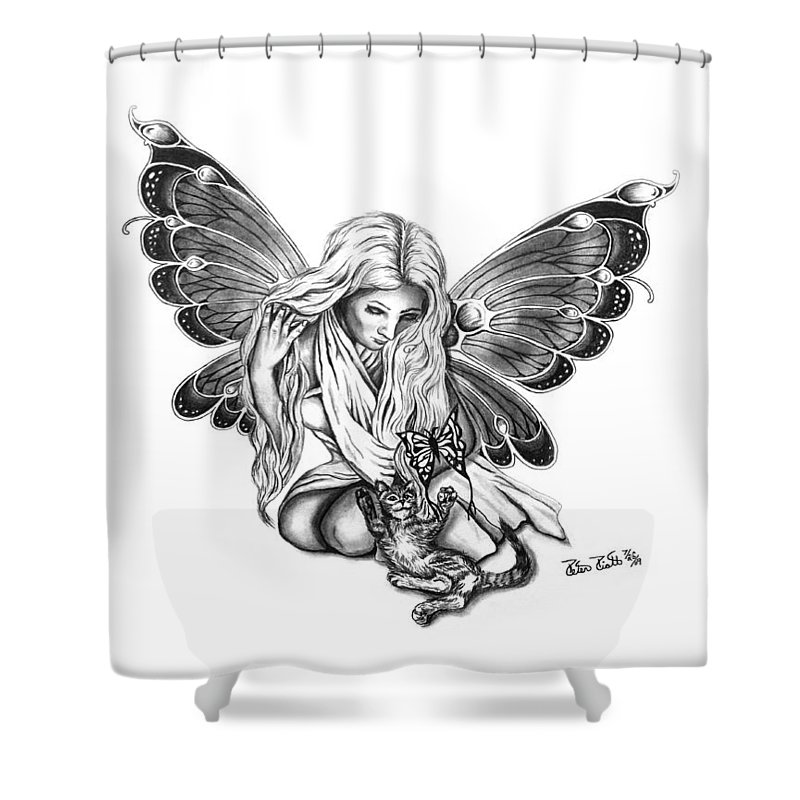 Cat Fairy Shower Curtain featuring the drawing Cat Fairy by Peter Piatt
