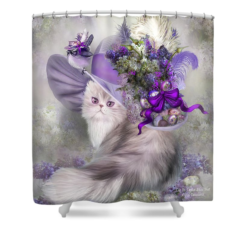 Cat Shower Curtain Featuring The Mixed Media In Easter Lilac Hat By Carol Cavalaris