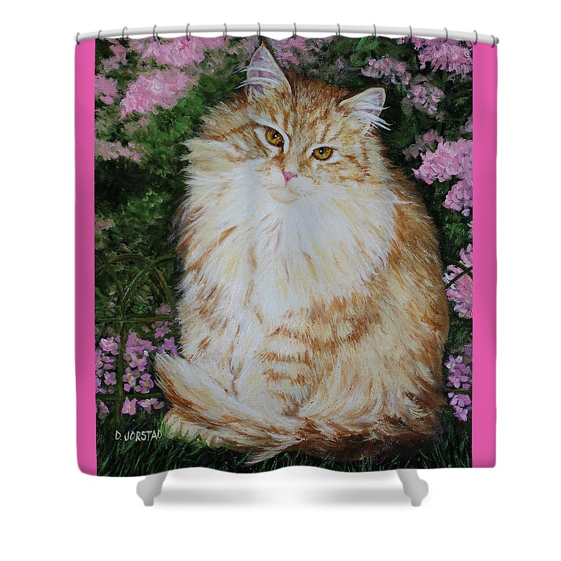 'cat Print Fine Art Shower Curtain featuring the painting Kitten Cat Painting Perfect For Child's Room Art by Diane Jorstad