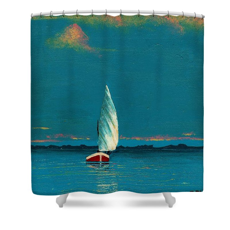 Landscape Painting Shower Curtain featuring the painting Catching The Breeze by Edith Peterson-Watson