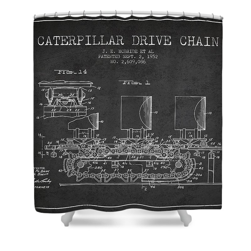 Caterpillar Shower Curtain featuring the digital art Caterpillar Drive Chain Patent From 1952 by Aged Pixel