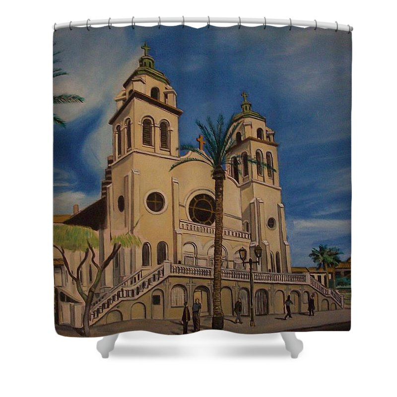 Shower Curtain featuring the painting Cathedral by Jude Darrien
