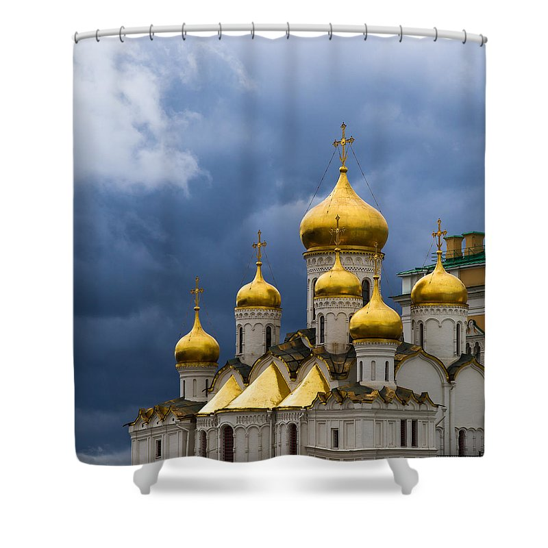 Moscow Shower Curtain featuring the photograph Cathedral Of The Annunciation Of Moscow Kremlin - Square by Alexander Senin