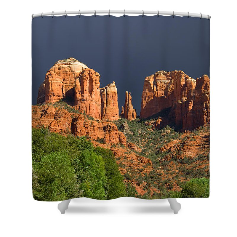 Red Rocks Shower Curtain featuring the photograph Cathedral Rock Before The Storm by Alexey Stiop