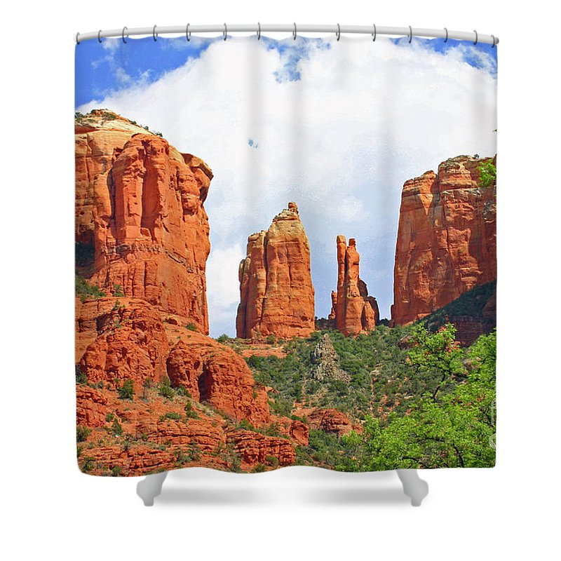 Scenic Shower Curtain featuring the photograph Cathedral Rock by Bob Hislop
